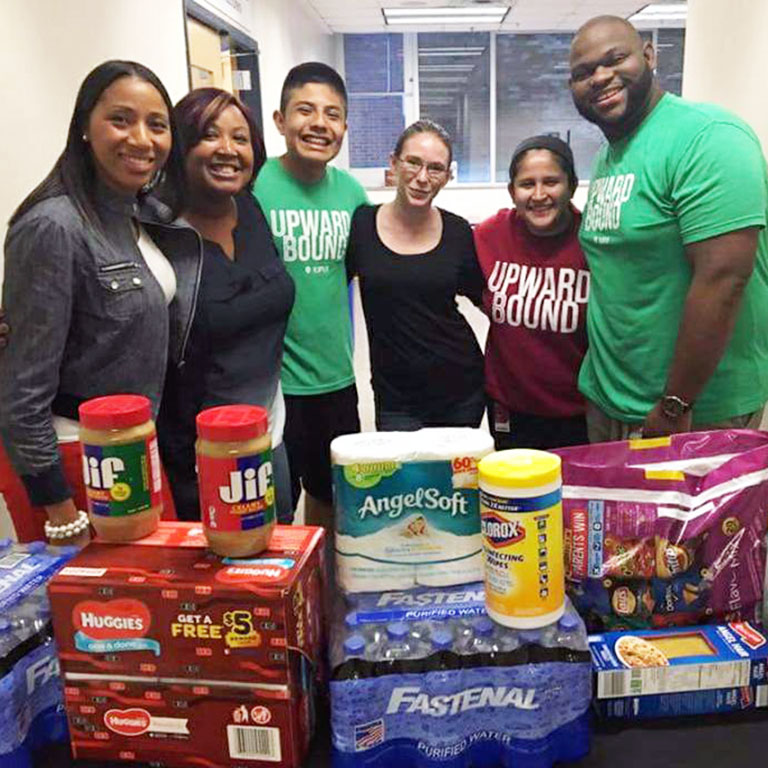 "Upward Bound and staff collecting donations for ""Hoosiers Helping Houston"""